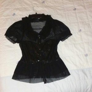 Forever 21 goth ruffle mesh sequin top